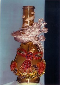 プラチナ龍・k18花瓶
